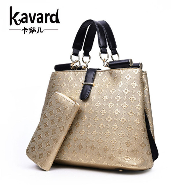 Luxury Gold Houndstooth Spanish Brand Totes Coin Purses Handbag 2 Pcs Set Women Designer