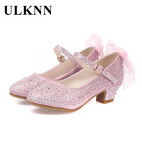 ULKNN Girls Leather Shoes For Kids Rhinestone Low Heel Princess Shoes Girls Sandals Autumn Spring Rubber