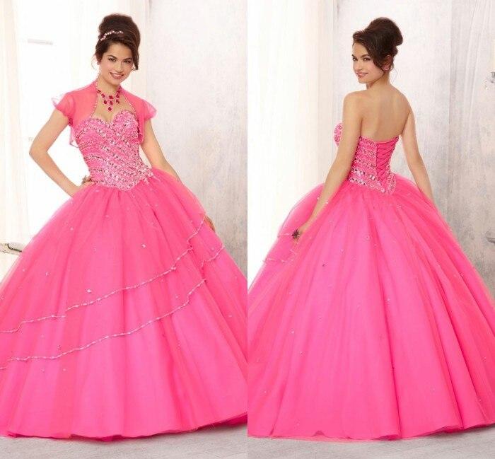 Fuchsia Pink vestidos de 15 anos Beaded Bodice on a Tulle Ball Gown ...