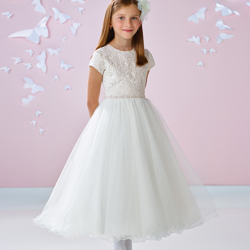 New Arrival Flower Girls Lace Applique Tulle with Beading Sash Short Sleeve A Line Unique Girl First Communion Dresses Made Gown