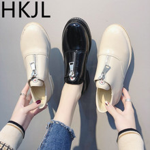 HKJL British style small leisure woman spring 2019 all-in-one front zipper low-top shoes thick heel women A228
