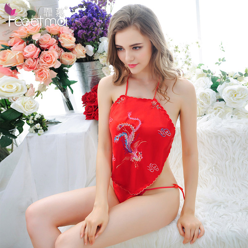 Chinese Style Retro Embroidery Bellyband Backless Sexy Lingerie Red Hot Erotic Sex Underwear Babydoll Nightgrown