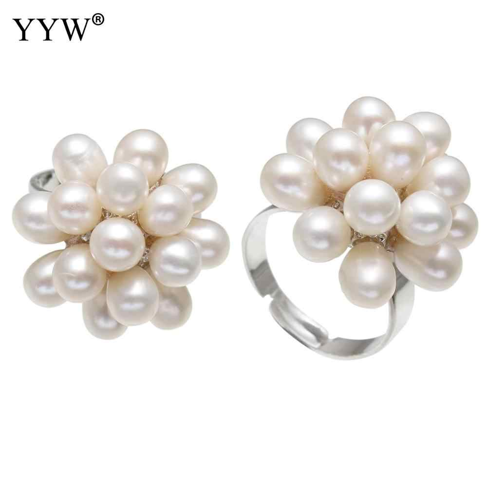 YYW White Natural Freshwater Pearl Finger Ring Wedding Bridal Adjustable Full Midi Rings Flower Pearl Rings for woman