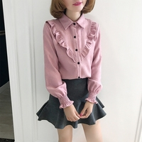 Fashion Corduroy Long Sleeve Shirt Women Spring Autumn Casual Turn Down Collar Ruffle Blouses With Button