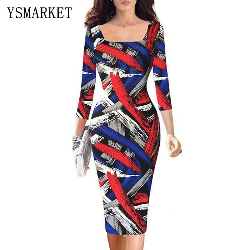 2017 Graffiti Color Striped Print Fashion Office Dress Women 34