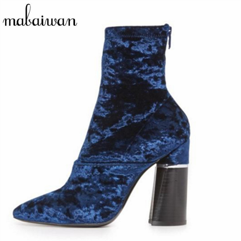 Mabaiwan Blue Velvet Short Booties Women High Heels Pointed Toe Back Zipper Ankle Sock Boots Female Chunky Heel Winter Boots fashion velvet women short booties pointed toe back zip metal decor ankle boots botines mujer women platform pumps shoes