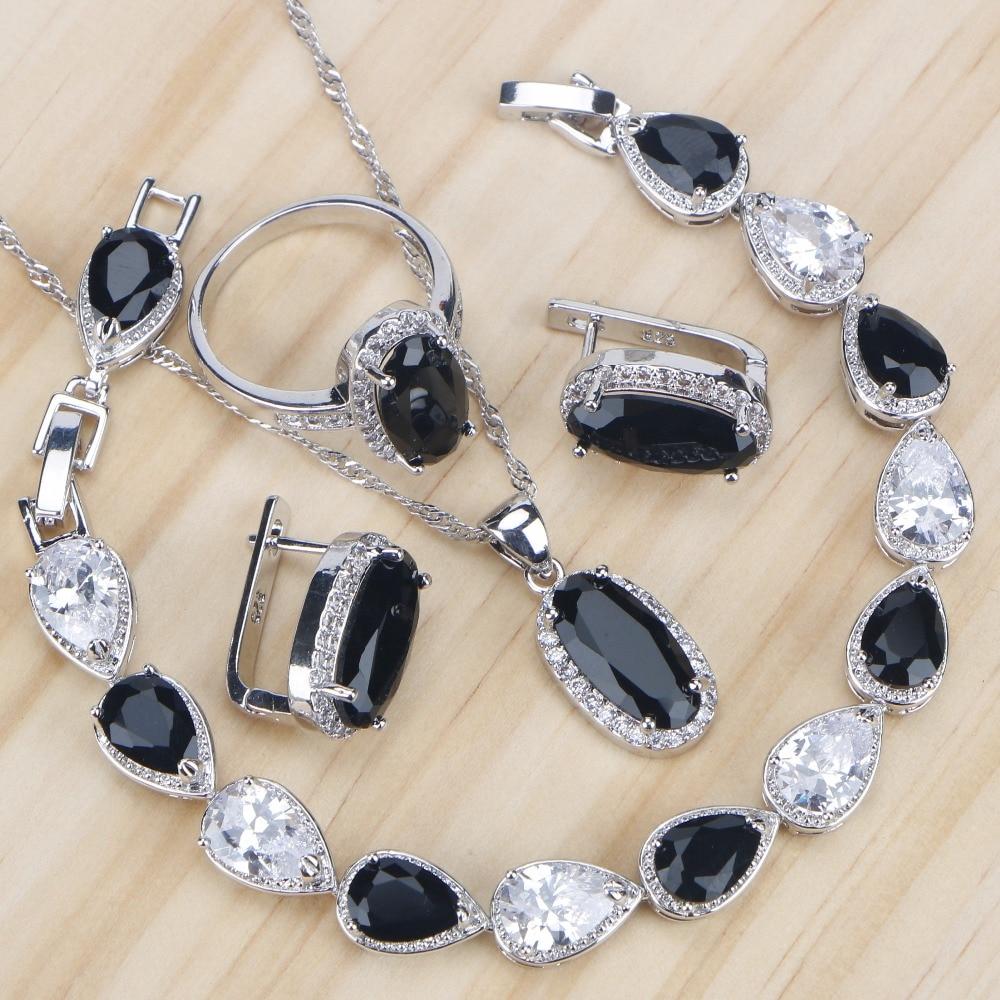 Costume Jewelry-Sets Ring-Necklace-Set Bracelet Stone-Earrings Silver Wedding Bridal