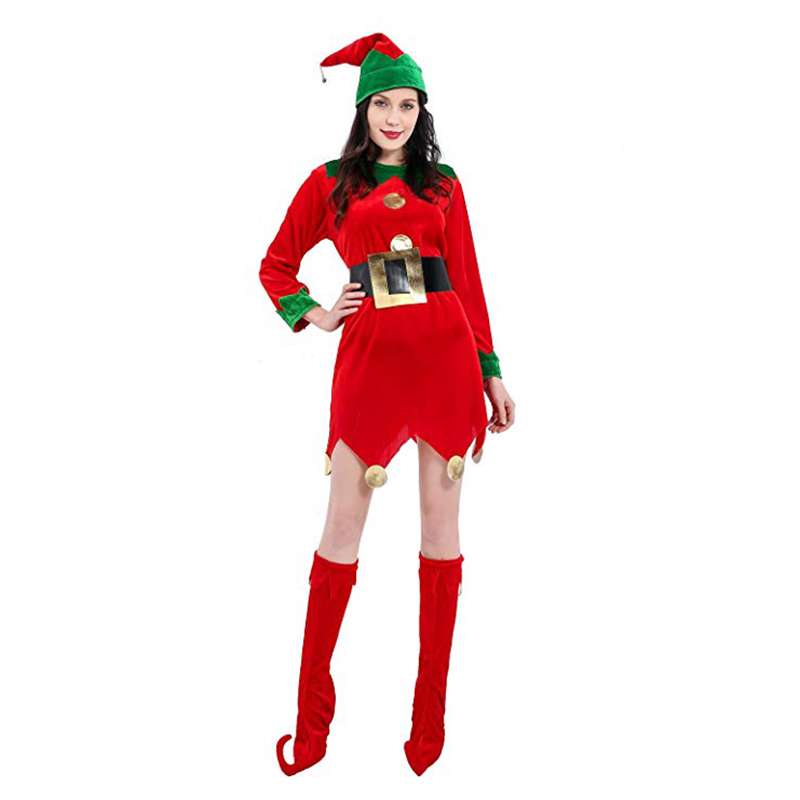 Women's Santa Claus Christmas Suit Christmas Costumes For Girls Cosplay Red With Hat Fancy Dresses With Boots