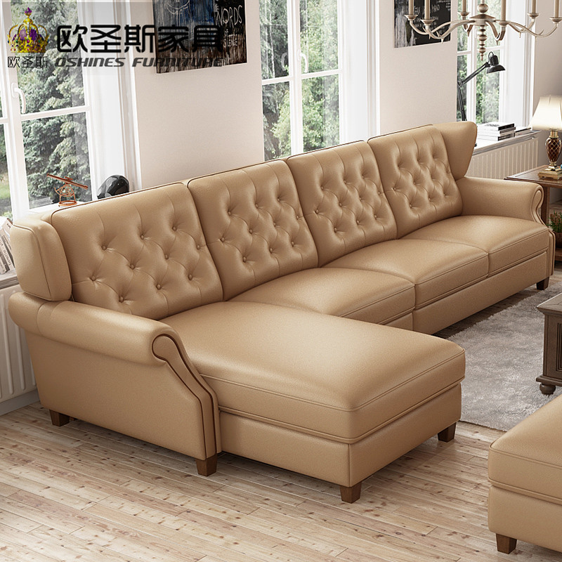 light coffee American style new designs 2017 sectional living room furniture l shaped corner victorian leather sofa set F80L european laest designer sofa large size u shaped white leather sofa with led light coffee table living room furniture sofa