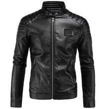 все цены на New Vintage Retro Motorcycle Jackets Men PU Leather Jacket Biker Punk Slim Classical Faux Leather Windproof Moto Jacket онлайн