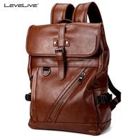 LeveLive 2018 New Men S Brown Leather Backpack Vintage Men BagPack Fashion SchoolBag For Teenager Casual