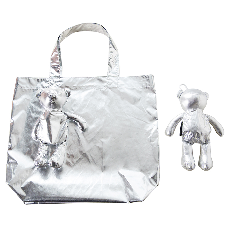 New Silver Bear Waterproof Coating Reusable Portable Should Pocket Shopping Bag Eco-friendly Folding Handbag Grocery Fold Bag