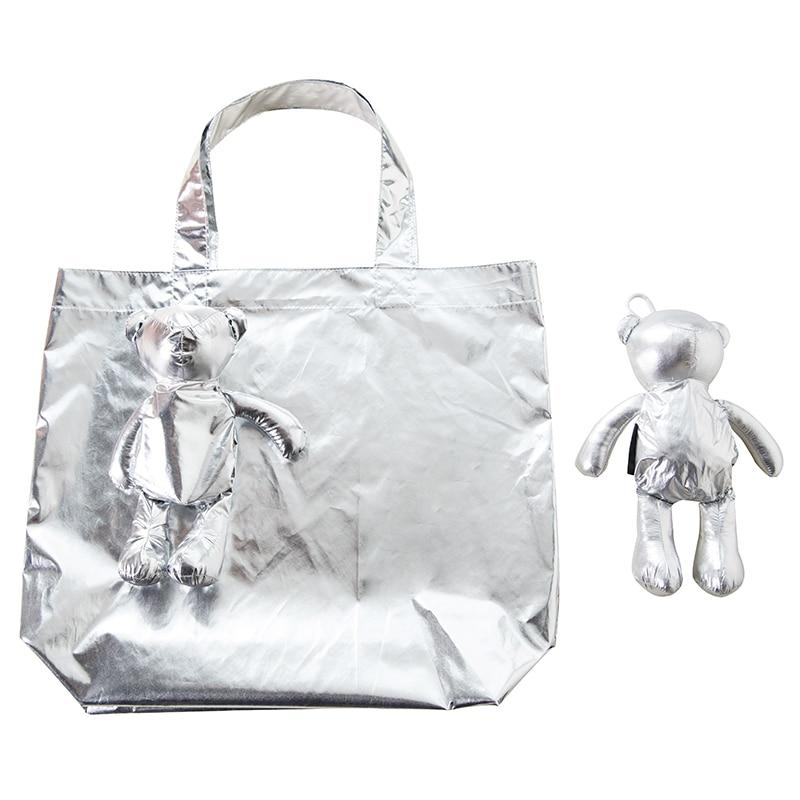 New Silver Bear Waterproof Coating Reusable Portable Should Pocket Shopping Bag Eco-friendly Folding Handbag Grocery Fold Bag
