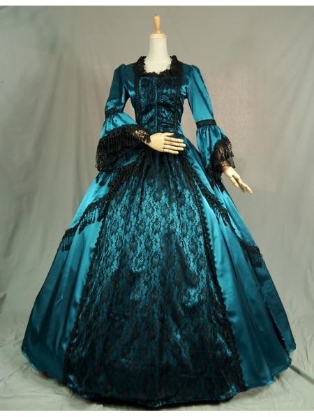 Bleu Manches Victorienne Robes De Bal avec Dentelle Noire