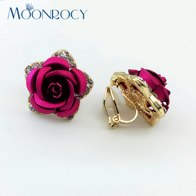 Moonrocy Free Shipping Fashion Rose Gold Color Red Blue Purple Crystal Earrings Clip Flower