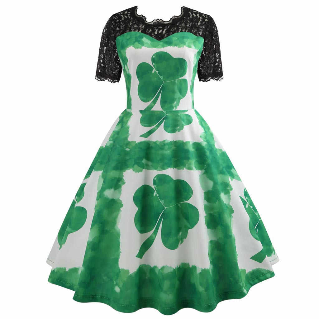 58f2230db Vintage Style Women Ladies St Patrick's Day Lace Short Sleeve O-Neck  Evening Party Prom
