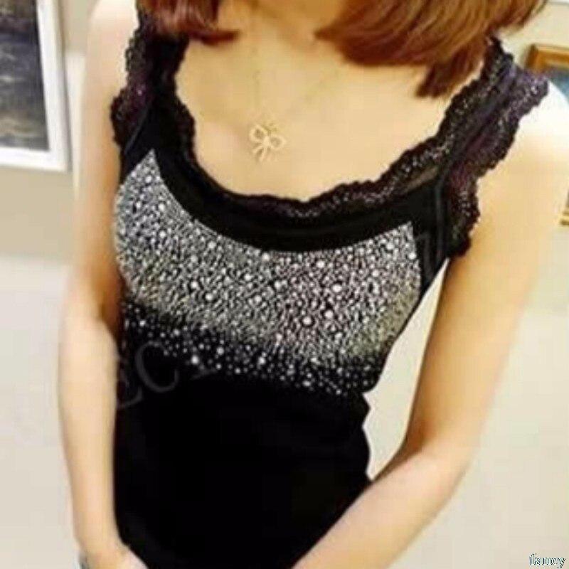 Women Sexy Rhinestone Lace Stunning Based Sleeveless Vest   Tank     Top   Tee T-Shirt Camisole Cami Shirt Slim Drop ship #