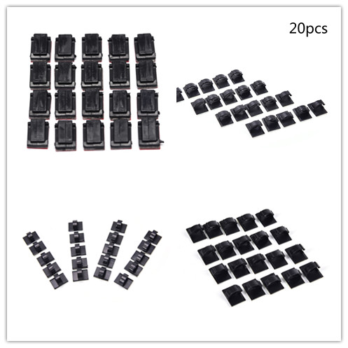 20pcs/lot Cable Winder Adhesive Car Cable Clips Black Management Desk Wall Cord Clamps Drop Wire Tie Fixer Holder Organizer Famous For High Quality Raw Materials Full Range Of Specifications And Sizes And Great Variety Of Designs And Colors
