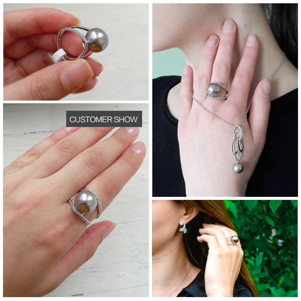 DreamCarnival 1989 полые стильные женские указательные кольца Синтетические серые жемчужные украшения вставки из кубиков циркона родия женщин Bijoux WA11426
