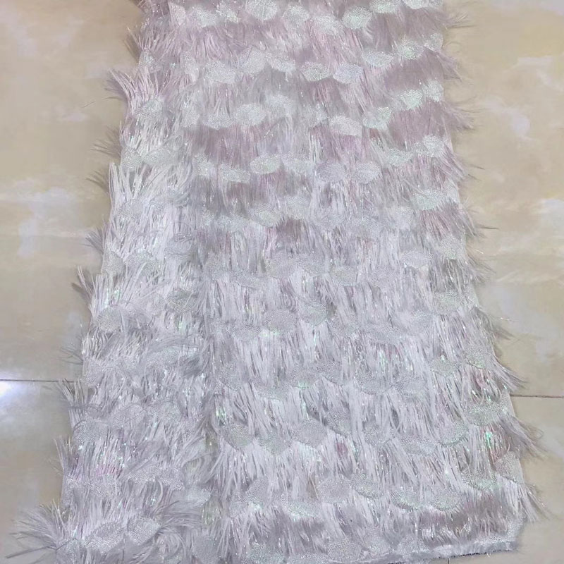 African Lace Fabric 2018 High Quality Lace 3D feather Tulle French Lace Fabric For Wedding Lace