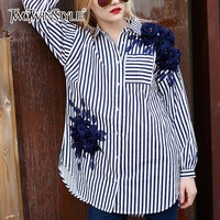 TWOTWINSTYLE Striped Women S Shirt Appliques Irregular Split Lapel Collar Long Sleeve Blouses Top Autumn Female