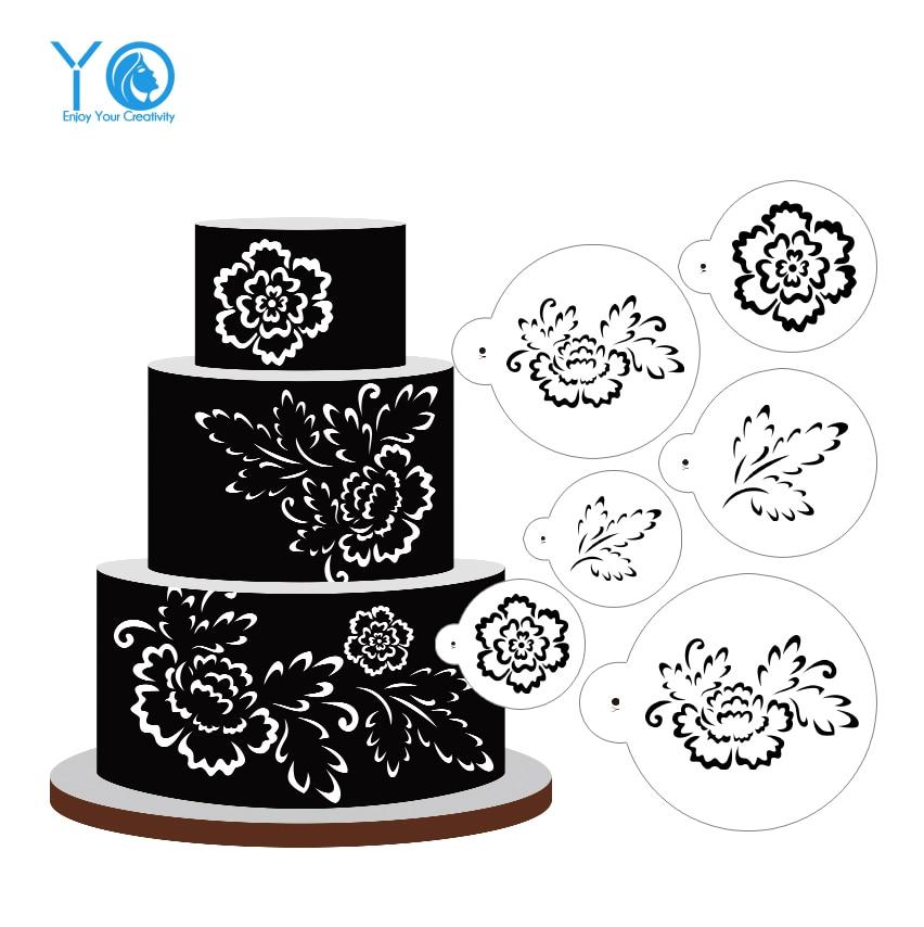 YO 6 stks / partij Decoratieve Bloemen En Bladeren Cupcake Stencil - Keuken, eetkamer en bar