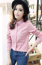 2015 spring and summer long sleeve basic polo shirt female plus size shirt preppy style female