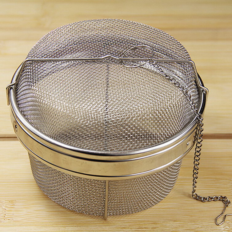Stainless steel basket mesh ball soup strainers seasoning dregs bags filter flavor material metal colanders