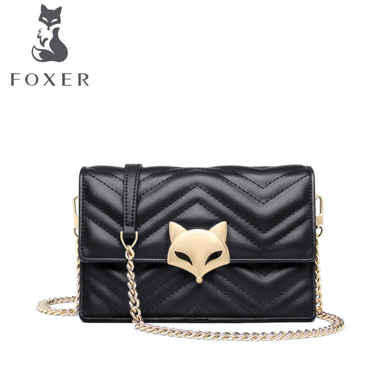 FOXER brand bags for women 2018 new women leather bag fashion chain small bag designer women leather handbags shoulder bag foxer 2018 new women leather bag designer fashion women famous brand cowhide small tote bag women leather shoulder bags
