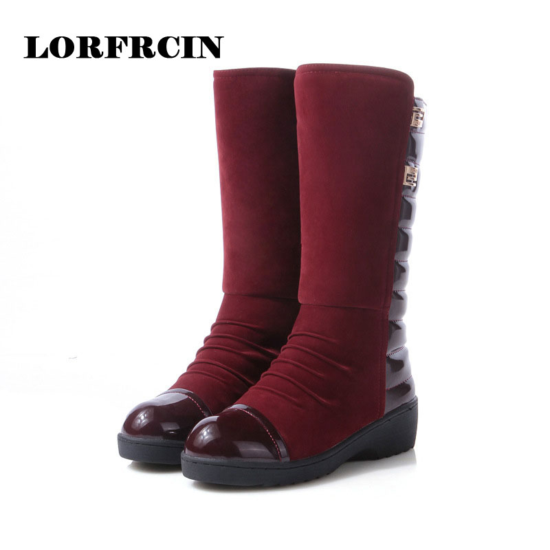ФОТО 2017 Winter Shoes Woman wedge Flock Boots Fashion Flat Mid-calf Women Boots Casual Shoes Very Warm Snow Boots
