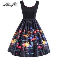 Women Elegant A Line Dress Flamingo Print Sleeveless Autumn Rockabilly Vestidos Plus Size XL 5XL Christmas