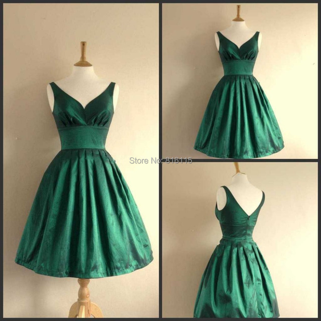 5fd47babba62e A Line V Neck Satin Short Dresses Party Dresses Emerald Green Prom Dress  Short Free Shipping K23-in Prom Dresses from Weddings & Events