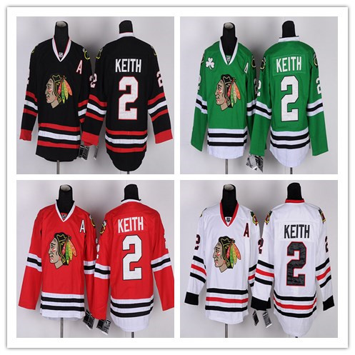 fast Best Quality Mens #2 Duncan Keith Home Throwback CCM Embroidery Hockey Jerseys Green White Black Red(China (Mainland))