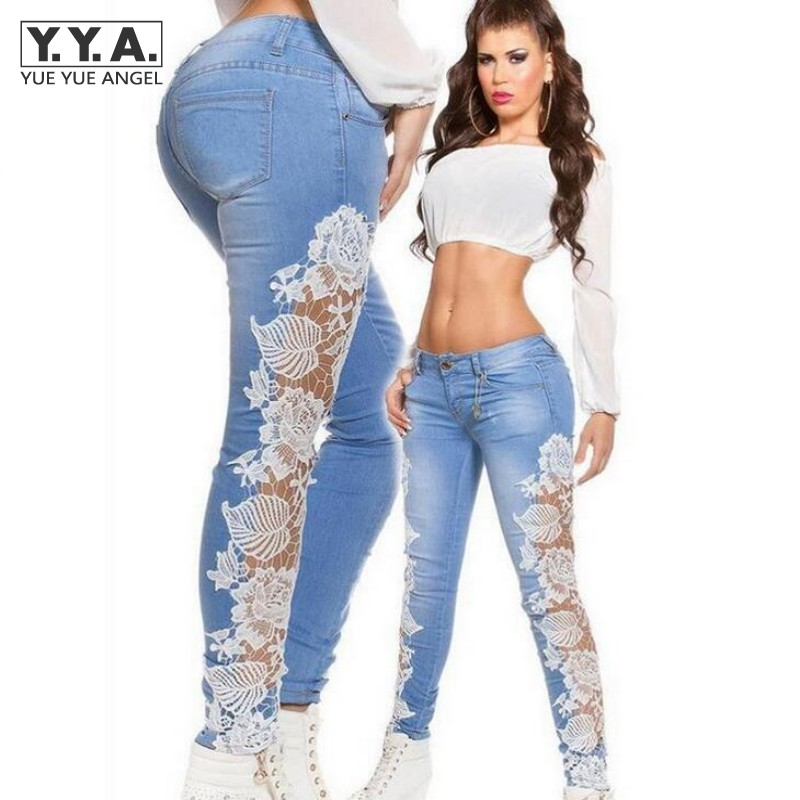 New Womens Skinny Lace Crochet Stretch Denim Slim Trousers Leggings Jeans Pants American Sexy Lace Transparet Female Jeans Pants