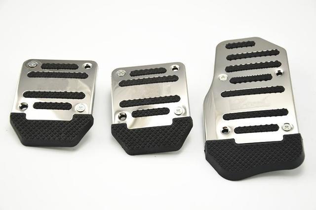 Car Style black Aluminium Non Slip Sport Pedal Brake Pad Covers Manual Car 3 PCS car styling