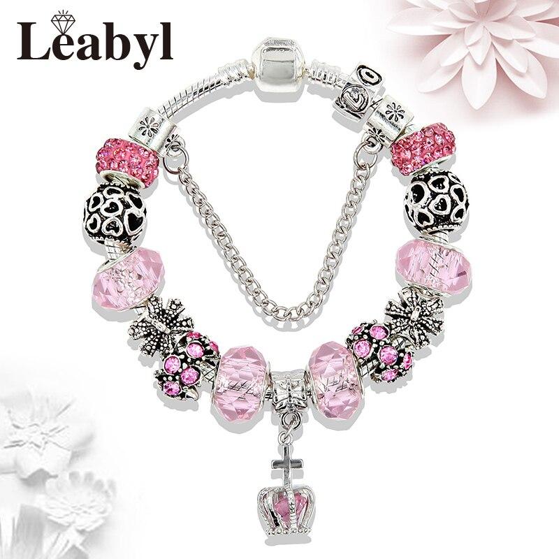 New Arrival Royal Crystal Crown Charm Bracelet Diy Antique Silver Heart Bead Pan Bracelets & Bangles for Women Child Gift