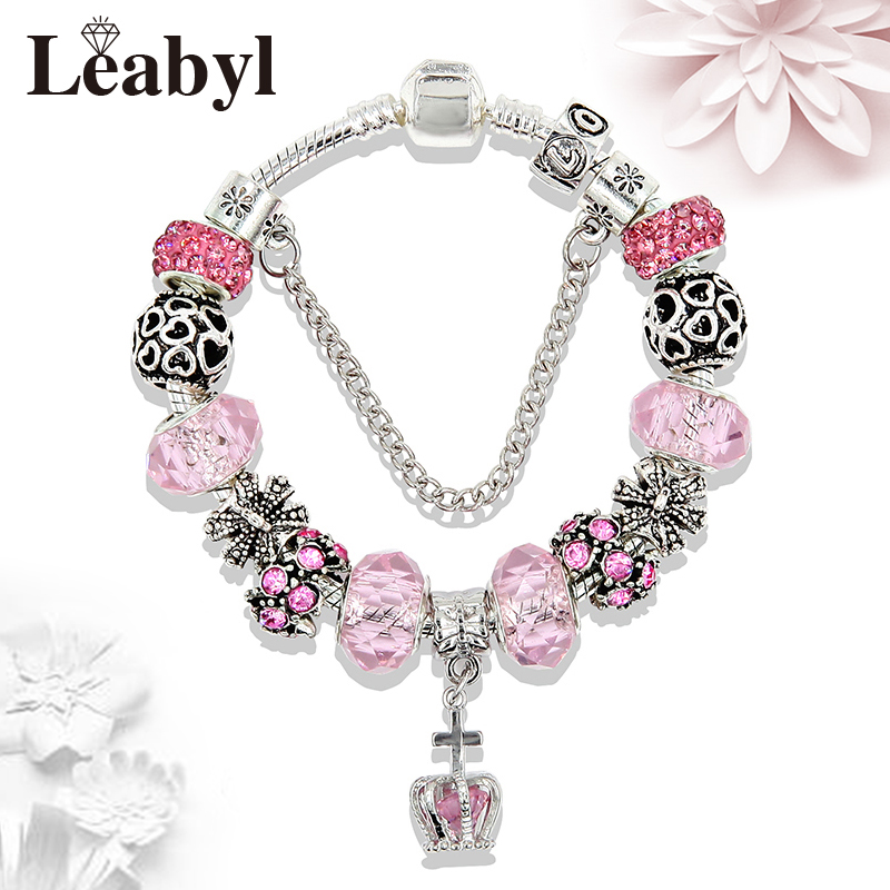 New Arrival Royal Crystal Crown Charm Bracelet DIY Antique Silver Heart Bead Pandora Bracelets & Bangles for Women Child Gift