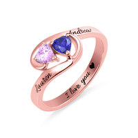AILIN Custom Promise Rings Two Heart Birthstones Couple Rings In Rose Gold Color For Her Engagement Rings In Size 5 12
