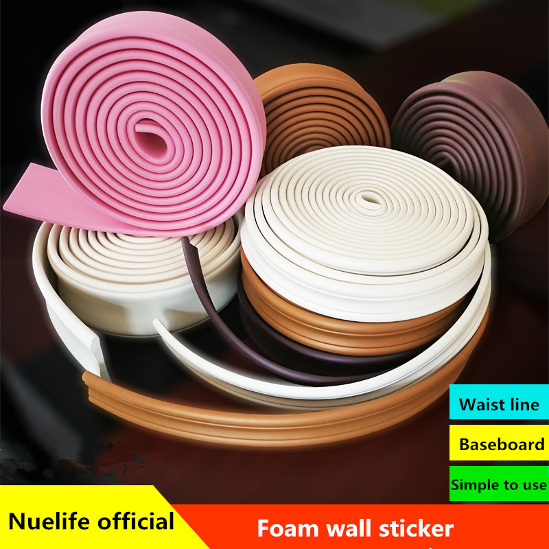 Nuelife strips pressure frame waist line 3d anti-collision foam wall sticker baseboard bedroom ceiling Background wall soft bag