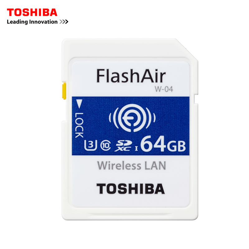 TOSHIBA FlashAir W-04 Memory Card Wireless LAN 64GB WI-FI SD Card U3 UHS Speed Class 3 Wireless SD Memory Card Wifi SD Card 48mm t ring for canon eos 5d 1ds premeier astronomic telescopio