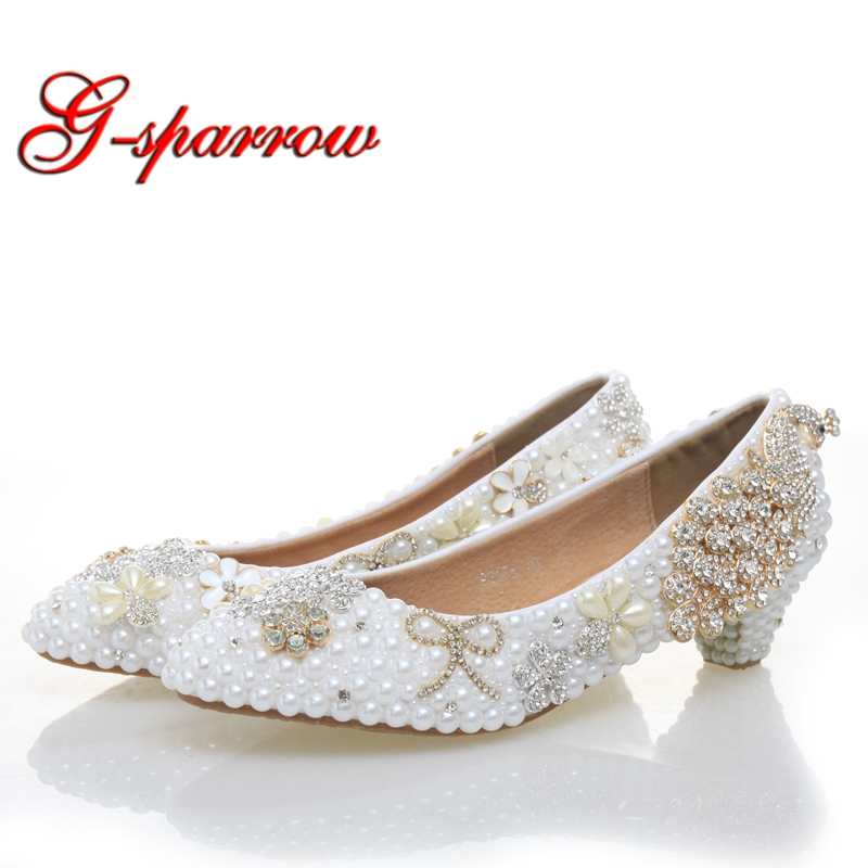 Graduation Ceremony Women Low Heel White Pearl Wedding Shoes Luxury Colorful Crystal Shoes Rhinestone Pumps Party