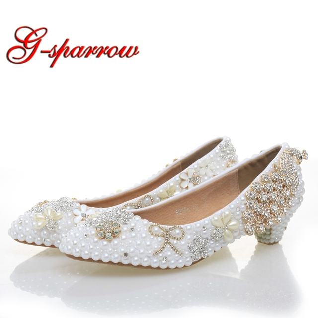 cfe10af2c08 Graduation Ceremony Women Low Heel White Pearl Wedding Shoes Luxury  Colorful Crystal Shoes Rhinestone Pumps Party Prom Shoes