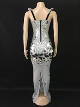 Sparkly Silver Rhinestones Sequins Mesh Long Dress Women's Birthday Celebrate Outfit Nightclub Female Singer Sexy Stage Dress