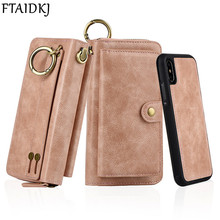 FTAIDKJ Multifunction PU Leather Zipper Wallet Card Case For iPhone XS X 7 8 Plus 6 6S Removable Filp Cover Purse Handbag