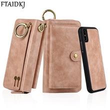 FTAIDKJ Multifunktions Pu leder Zipper Wallet Card Fall Für iPhone XS X 7 8 Plus 6 6 S Plus Abnehmbare filp Abdeckung Geldbörse Handtasche