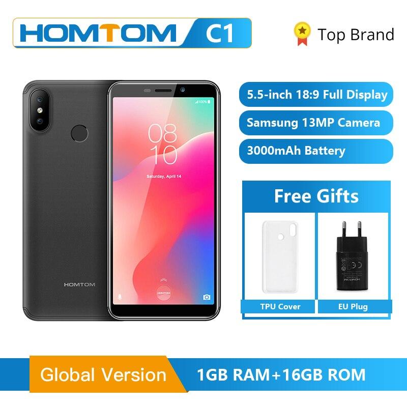 Original HOMTOM C1 1GB RAM 16GB ROM Quad Core Mobile Phone 5 5 inch 18 9