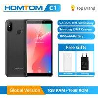 Original HOMTOM C1 1GB RAM 16GB ROM Quad Core Mobile Phone 5.5 inch 18:9 Full Display 13MP Rear Camera Smartphone Fingerprint