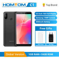 Original HOMTOM C1 1GB RAM 16GB ROM Quad Core Mobile Phone 5.5 inch 18:9 Full Display 13MP Rear Camera Smartphone Fingerprint