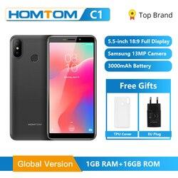 Homtom original c1 1 gb ram 16 gb rom quad core telefone móvel 5.5 polegada 18:9 display completo 13mp câmera traseira smartphone impressão digital