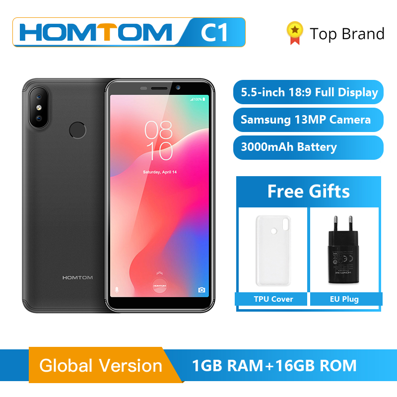 Original HOMTOM C1 1GB RAM 16GB ROM Quad Core Handy 5,5 zoll 18:9 Volle <font><b>Display</b></font> 13MP Hinten kamera Smartphone <font><b>Fingerprint</b></font> image